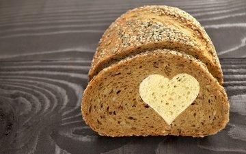 сердце, хлеб, любовь, романтик, выпечка, влюбленная, сладенько