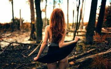 forest, girl, legs, skirt, backside, miro hofmann