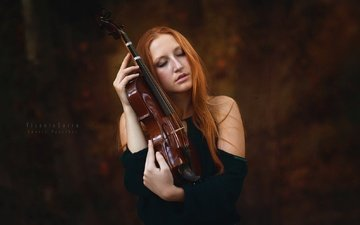 girl, violin, music