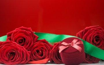 розы, красные, букет, романтик, краcный, цветы, коробочка, роз
