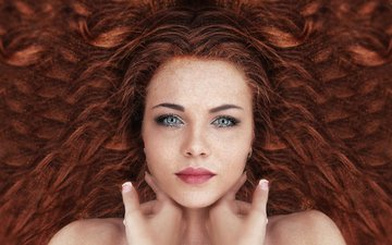 девушка, портрет, взгляд, рыжая, волосы, лицо, макияж, рыжеволосая, сексапильная