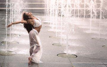 девушка, танец, фонтаны, romina micheletty