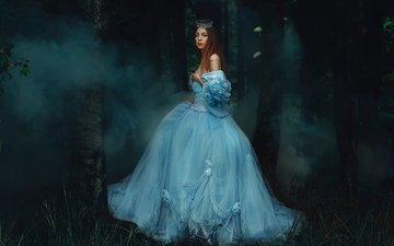 лес, девушка, платье, дым, rosie hardy