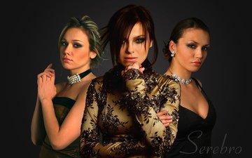 group, girls, black background, silver, dresses, music, serebro, elegant, hairstyles, singer