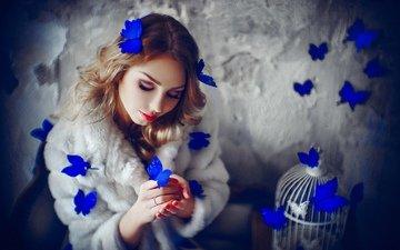 девушка, фото, модель, бабочки, позирует
