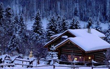 деревья, снег, новый год, елка, зима, пейзаж, мост, дом, картинка, открытка, снежный лес, рождество обои, красота природы