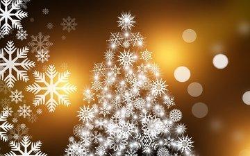 снежинки, новогодняя елка