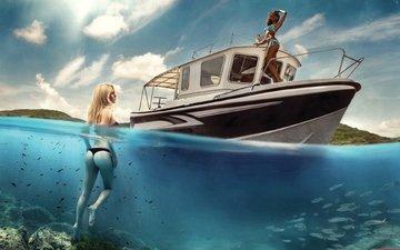 фото, море, рыбки, девушки, яхта, коллаж