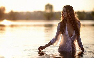 река, девушка, поза, симпатичная