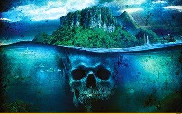 арт, море, корабль, фэнтези, лодка, остров, череп, акула, фар край 3