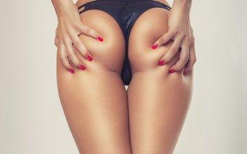девушка, модель, позирует, белье, в белье, ногти