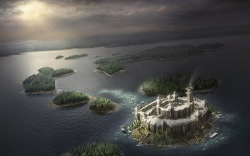 island, fortress, art, digital, secrets, riddles, hyperborea, illustration