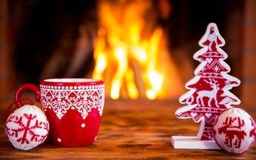 новый год, елка, огонь, игрушки, камин, чашка, праздник, 2016