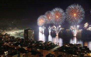 новый год, салют, фейерверк, рио де женейро