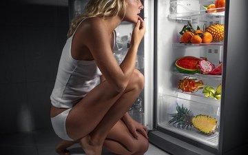 girl, pose, panties, legs, hair, linen, refrigerator, products, t-shirt