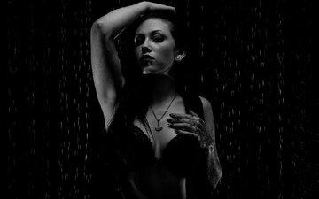 девушка, брюнетка, модель, готика, грудь, пирсинг, мокрая, белье, celina