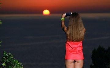 girl, sunset, shooting