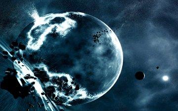 kosmos, planet, explosion