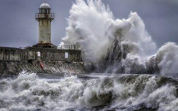 sea, lighthouse, wave, storm
