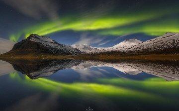небо, ночь, вода, горы, отражения, гора, северное сияние, норвегия