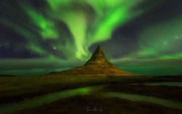 небо, ночь, звезды, гора, северное сияние