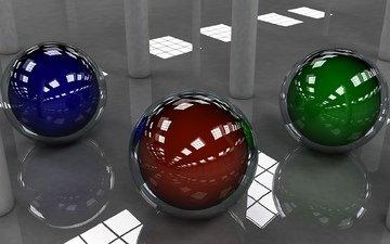 шарики, пол, зеркальный