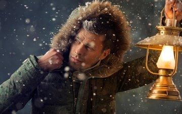 snow, winter, frost, lamp, lantern, male, jacket, hood