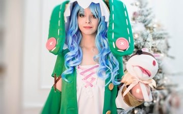 anime, woman, blue hair, cosplay, christmas tree, christmas, date a live, grl, game