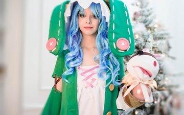 аниме, женщина, голубые волосы, косплей, новогодняя елка, елочная, date a live, grl, дичь
