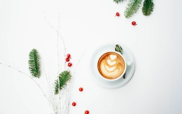 tree, morning, coffee, minimalism, berries, cappuccino, foam, a sprig of spruce, coffee cup