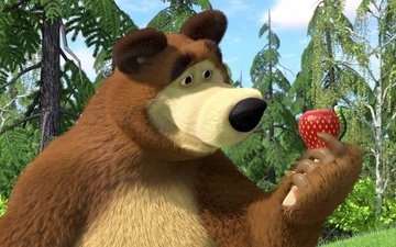 strawberry, cartoon, bear, masha and the bear