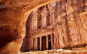 здание, петра, древний город, древнего, наскальные, десерд, иордания