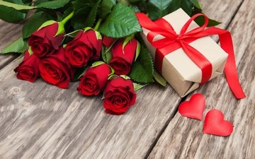 flowers, buds, roses, bouquet, gift, hearts