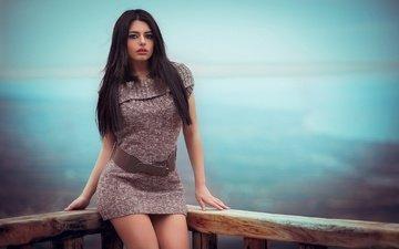 девушка, платье, брюнетка, вид, высота, макияж, прическа, фигура, секси, позирует, красотка, пояс, стоит, парапет, боке, dimitris konstantinidis, marianna bafiti