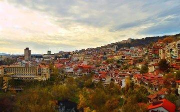 панорама, осень, дома, здания, крыши, опадают, осен, болгария, велико-тырново