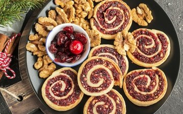 nuts, berry, christmas, sweet, cakes, baking