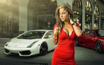 red dress, ferrari, view, lamborghini, supercar, gallardo, girl, model, robin grimshaw