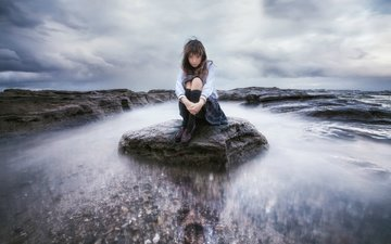 the sky, water, girl, reflection, stone