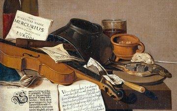 picture, violin, oil, canvas, antonius leemans