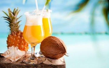 еда, коктейль, бокалы, ананас, кокосы