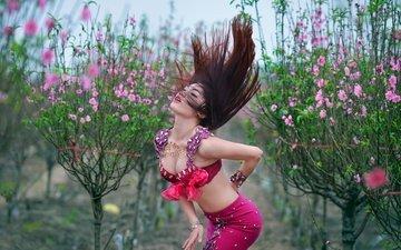 стиль, девушка, танец, волосы, фигура, азиатка