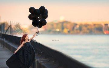 город, девочка, воздушные шары