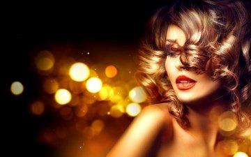 девушка, модель, волосы, губы, макияж, локоны, ресницы