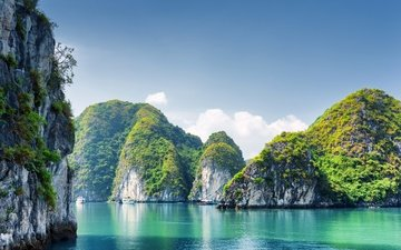 природа, море, скала, бухта, вьетнам, утес, halong bay
