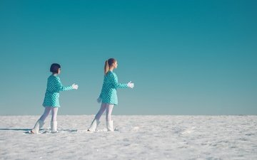 snow, girls, dance