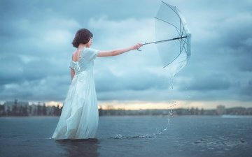 water, girl, umbrella