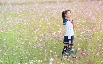 flowers, girl, field, form