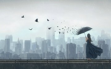 art, girl, bridge, the city, fantasy, birds, rain, umbrella