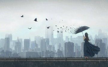 арт, девушка, мост, город, фантазия, птицы, дождь, зонт