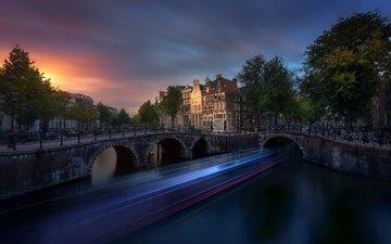 закат, мост, амстердам